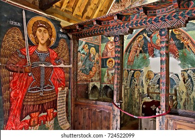 PEDOULAS, CYPRUS - Apri 8, 2017 Inside the church of Archangel Michael at Pedoulas village, Cyprus. It is one of the 10 byzantine churches of Troodos mountain listed as UNESCO World Heritage Sites.