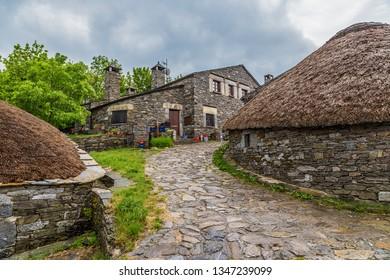 PEDRAFITA DEL CEBRERO, SPAIN - JUN 13, 2017: Pallazo traditional houses
