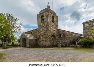 PEDRAFITA DEL CEBRERO, SPAIN - JUN 13, 2017: Church of St. Mary (Santuario de Santa Maria Real do Cebreiro), 9th century