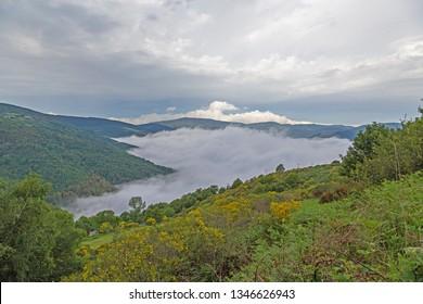 Pedrafita del Cebrero, Spain. Mountain landscape in cloudy weather