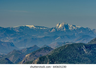 Pedraforca Mountain (2506m) in the far distance, in the Catalan Pyrenees (covered with snow)