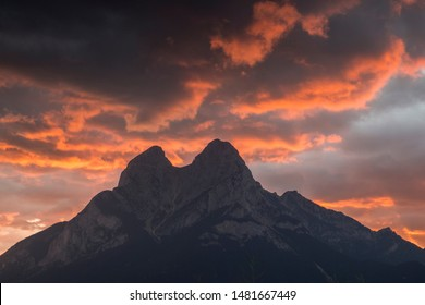 Pedraforca mountain silhouette in a orange dusk.