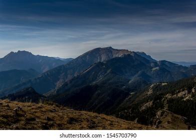 Pedraforca and Cadi-Moixeró Natural park from Coll del Moixerò, Cerdanya, Catalonia, Spain