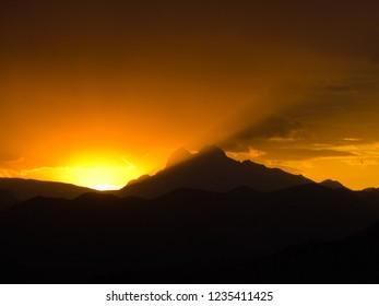 Pedraforca orange sunset
