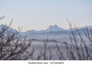 Pedraforca's mountain at the background from Bellmunt (Barcelona, Catalonia)