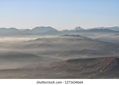 Pedraforca's mountain with mist, at the background from Bellmunt (Barcelona, Catalonia)