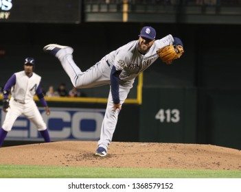 Pedro Avila pitcher for the San Diego Padres at Chase Field in Phoenix, Arizona /USA April 2019.