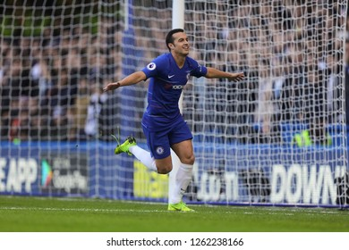 Pedro of Chelsea celebrates after scoring the opening goal, putting Chelsea 1-0 ahead - Chelsea v Fulham, Premier League, Stamford Bridge, London - 2nd December 2018