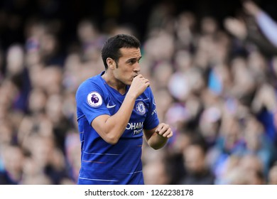 Pedro of Chelsea celebrates after scoring the opening goal, putting Chelsea 1-0 ahead- Chelsea v Fulham, Premier League, Stamford Bridge, London - 2nd December 2018