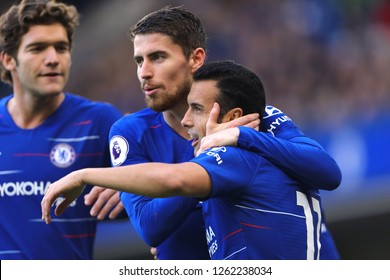 Pedro of Chelsea cis congratulated by Jorginho after scoring the opening goal, putting Chelsea 1-0 ahead - Chelsea v Fulham, Premier League, Stamford Bridge, London - 2nd December 2018