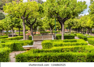 Pedro Luis Alonso Gardens (Jardines de Pedro Luis Alonso) in Malaga. This is a Latin garden, in which you can see fragments of Latin American, Islamic, and French gardens. Malaga, Andalusia, Spain.