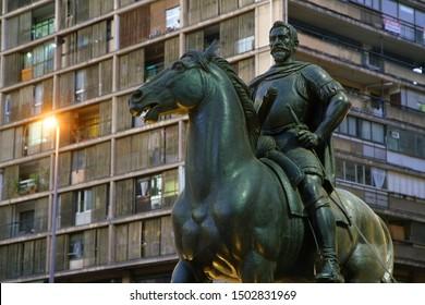 Pedro Valdivia statue at the Plaza de las Armas - Santiago de Chile