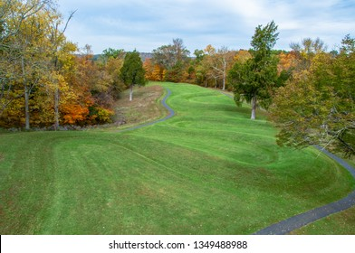 Peebles, Ohio / United States - October 10, 2011:  The Great Serpent Mound prehistoric Adena Native American effigy in Fall
