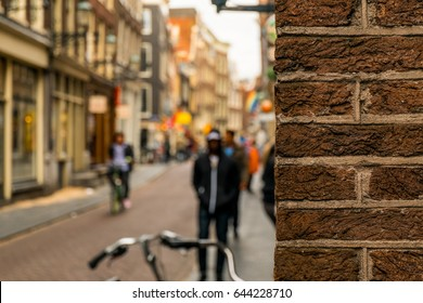 Peeking around the corner in Amsterdam