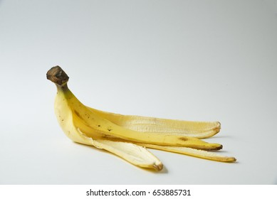 Peel banana on the white background