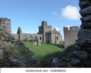 Peel Castle in Peel, the Isle of Man. The UK crown dependency in the Irish Sea.