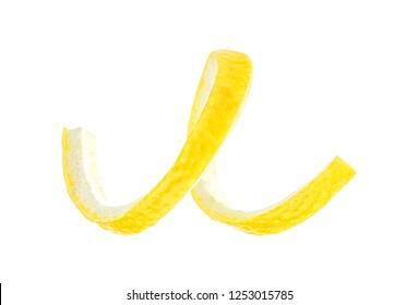 Peel of fresh lemon isolated on white background