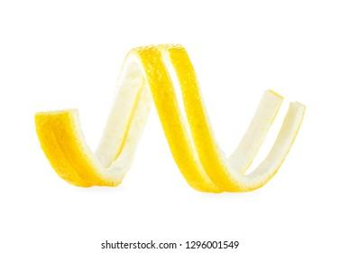 Peel of fresh lemon on a white background