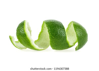Peel of lime isolated on a white background. Vitamine C.