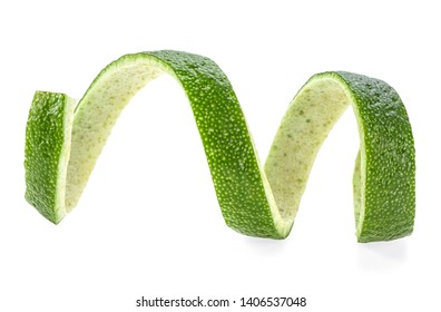 Peel of lime isolated on a white background. Lime twist. Vitamin C.