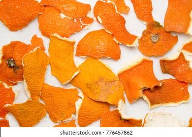 peel mandarin dried on white background