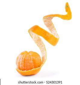 Peel of an orange isolated on white background