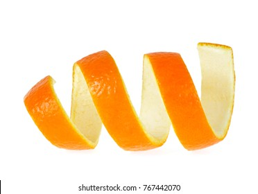 Peel of orange, isolated on white background