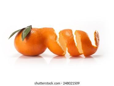 Peel and orange wedge on white background