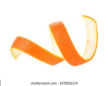 Peel of ripe orange isolated on white background