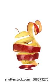 Peeled apple on a white background