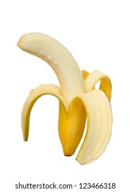 peeled banana on white isolated