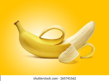 Peeled banana on yellow background