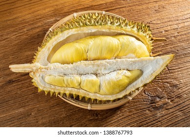 Peeled durian and durian flesh