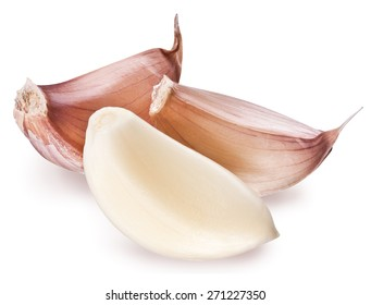 Peeled garlic clove isolated on a white background. Clipping paths.