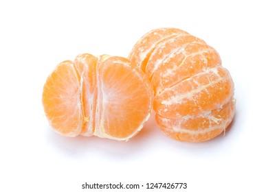 Peeled mandarin isolated on white background