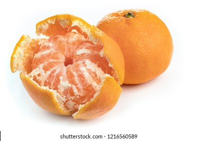 peeled mandarin juicy slices on white background. sweet food
