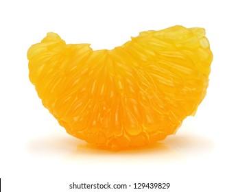 Peeled mandarin orange segment on white background