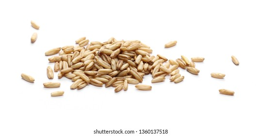 Peeled oat grains isolated on white background