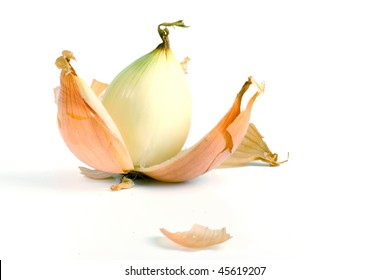 a peeled onion isolated on a white background