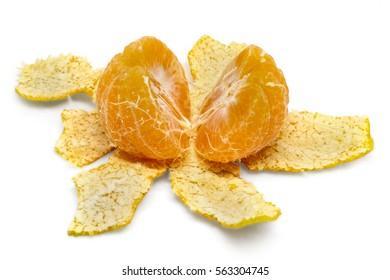 peeled orange on white background.