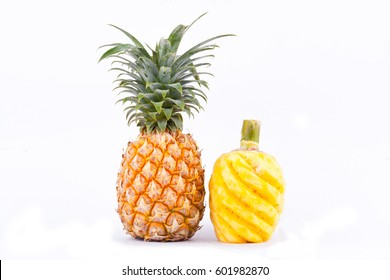 peeled  pineapple and ripe pineapple  on white background healthy pineapple fruit food isolated
