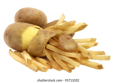 Peeled potato and french fries concept isolated on white