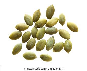 peeled pumpkin seeds isolated on white background