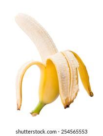 Peeled ripe banana isolated on white