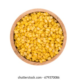 peeled split mung bean isolated on white background