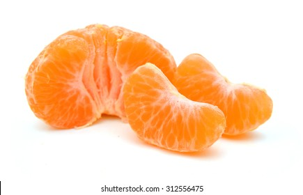 Peeled tangerine or mandarin fruit half isolated on white background cutout