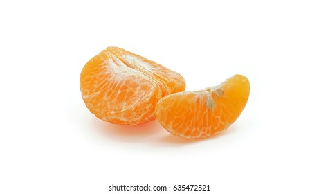 Peeled tangerine segment fruit, Mandarin piece Isolated on white background