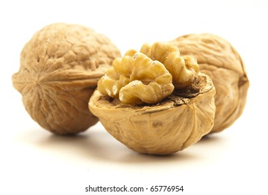 peeled wallnuts isolated on a white background