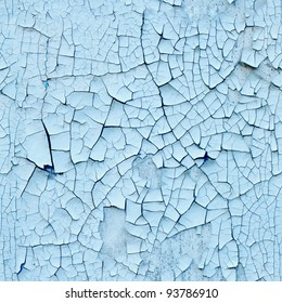 Peeling paint on wall seamless texture. Pattern of rustic blue grunge material.