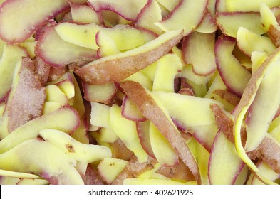 Peelings of potatoes photographed close background
